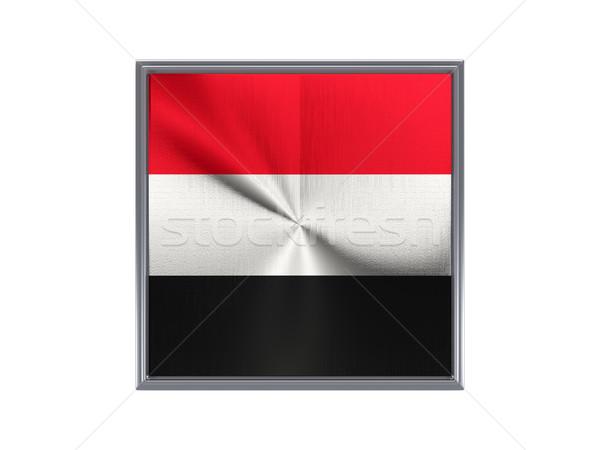 квадратный металл кнопки флаг Йемен изолированный Сток-фото © MikhailMishchenko