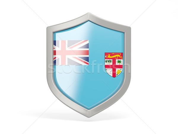 Escudo ícone bandeira Fiji isolado branco Foto stock © MikhailMishchenko