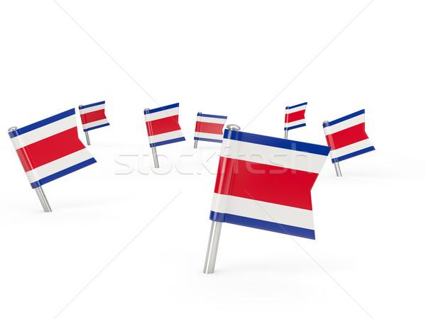 Tér zászló Costa Rica izolált fehér vidék Stock fotó © MikhailMishchenko