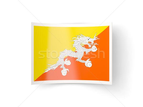 Icon vlag Bhutan geïsoleerd witte land Stockfoto © MikhailMishchenko