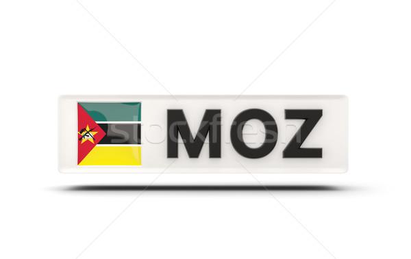 Praça ícone bandeira Moçambique iso código Foto stock © MikhailMishchenko