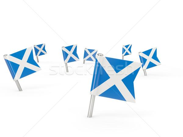 Vierkante vlag Schotland geïsoleerd witte land Stockfoto © MikhailMishchenko