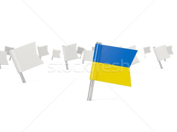 квадратный Pin флаг Украина изолированный белый Сток-фото © MikhailMishchenko