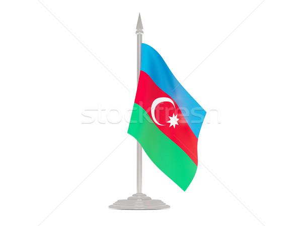 Vlag Azerbeidzjan vlaggestok 3d render geïsoleerd witte Stockfoto © MikhailMishchenko