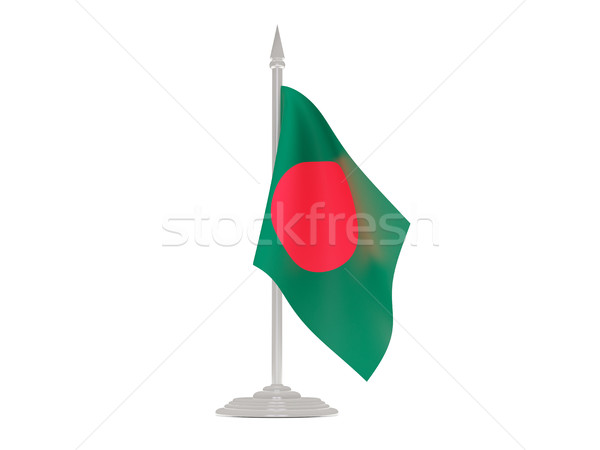 Banderą Bangladesz maszt 3d odizolowany biały Zdjęcia stock © MikhailMishchenko
