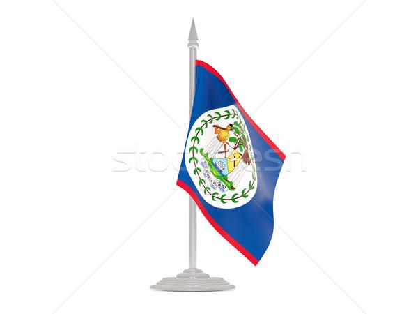 Banderą Belize maszt 3d odizolowany biały Zdjęcia stock © MikhailMishchenko
