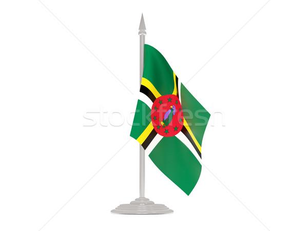 Banderą Dominika maszt 3d odizolowany biały Zdjęcia stock © MikhailMishchenko