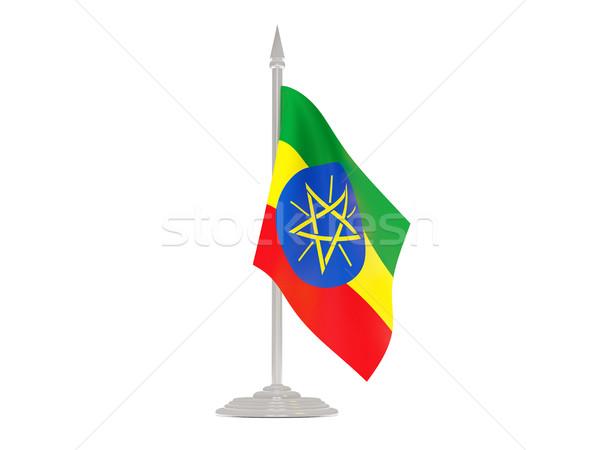 Vlag Ethiopië vlaggestok 3d render geïsoleerd witte Stockfoto © MikhailMishchenko