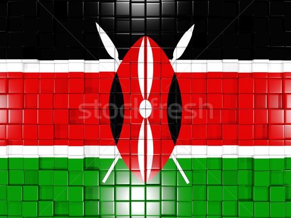 Placu banderą Kenia 3d ilustracji mozaiki Zdjęcia stock © MikhailMishchenko