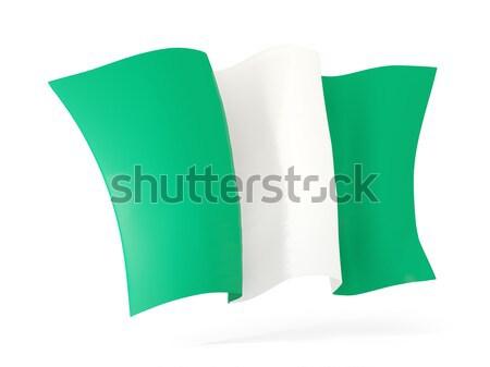 Banderą Nigeria 3d ilustracji odizolowany biały Zdjęcia stock © MikhailMishchenko