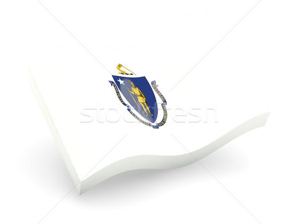 Flag of massachusetts, US state wave icon Stock photo © MikhailMishchenko