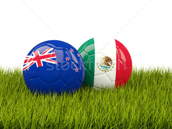 Two footballs with flags of New Zealand and Mexico on green gras Stock photo © MikhailMishchenko