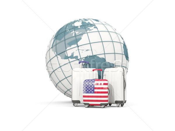 Bagaj bayrak Amerika üç çanta dünya Stok fotoğraf © MikhailMishchenko