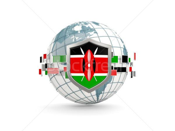 Földgömb pajzs zászló Kenya izolált fehér Stock fotó © MikhailMishchenko