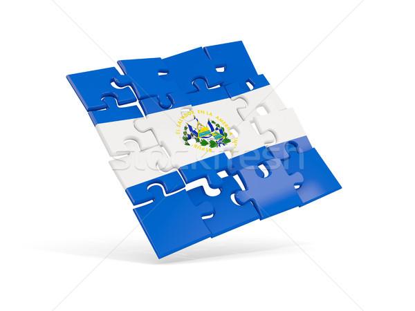 パズル フラグ エルサルバドル 孤立した 白 3次元の図 ストックフォト © MikhailMishchenko