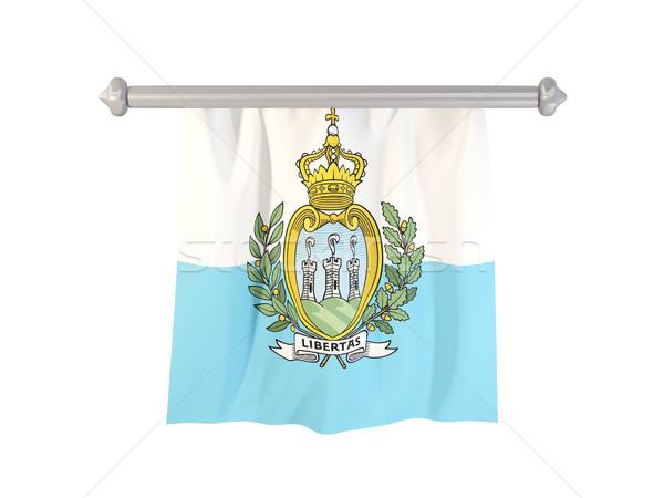 флаг Сан-Марино изолированный белый 3d иллюстрации Label Сток-фото © MikhailMishchenko
