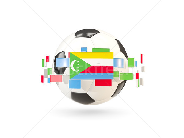 Soccer ball with line of flags. Flag of comoros Stock photo © MikhailMishchenko