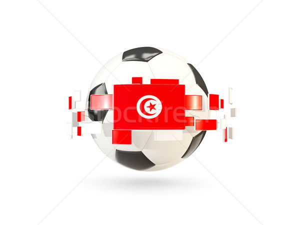 футбольным мячом линия флагами флаг Тунис Сток-фото © MikhailMishchenko