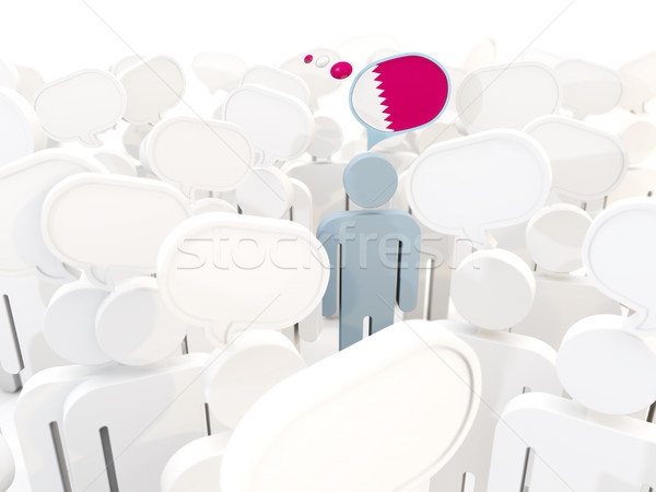 Homme pavillon Qatar foule 3d illustration signe Photo stock © MikhailMishchenko