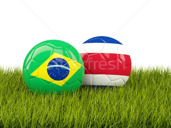 Сток-фото: Бразилия · против · Коста-Рика · Футбол · флагами · зеленая · трава