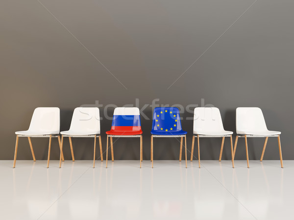 Chairs with flag of Russia and EU Stock photo © MikhailMishchenko