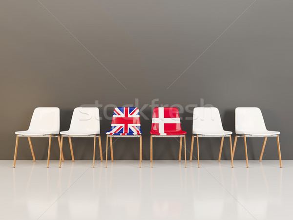 Chairs with flag of United Kingdom and denmark Stock photo © MikhailMishchenko