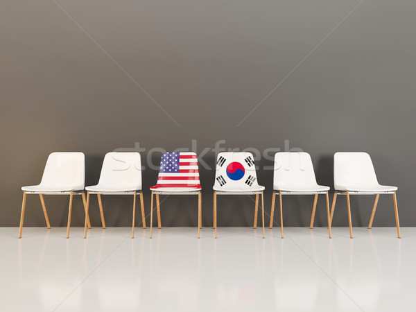 Chairs with flag of usa and south korea Stock photo © MikhailMishchenko