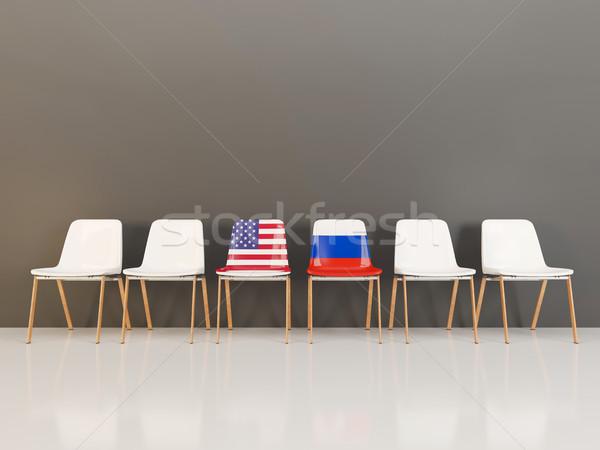Sandalye bayrak ABD Rusya 3d illustration Stok fotoğraf © MikhailMishchenko