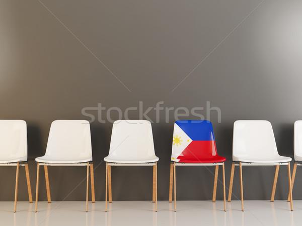 Krzesło banderą Filipiny rząd biały krzesła Zdjęcia stock © MikhailMishchenko