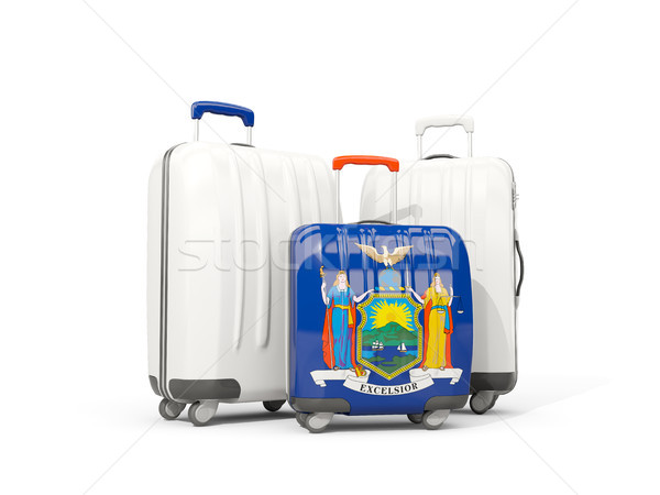 Luggage with flag of new york. Three bags with united states loc Stock photo © MikhailMishchenko