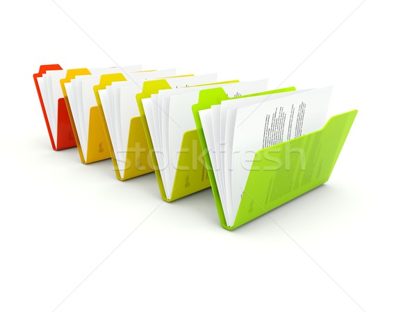 Row of folders isolated on white Stock photo © MikhailMishchenko