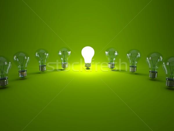 Bombillas verde tecnología energía eléctrica Foto stock © MikhailMishchenko