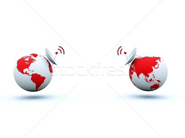 地球 皿 孤立した 白 世界中 技術 ストックフォト © MikhailMishchenko