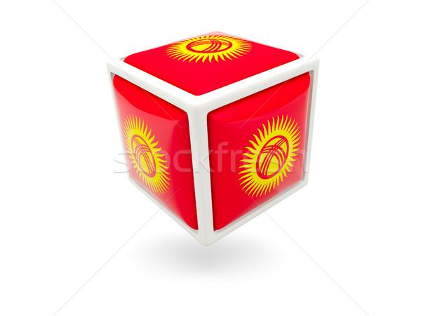 Vlag Kirgizië kubus icon geïsoleerd witte Stockfoto © MikhailMishchenko