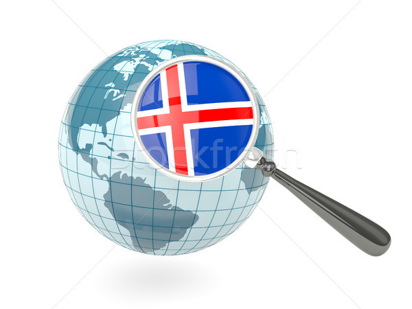 Magnified flag of iceland with blue globe Stock photo © MikhailMishchenko
