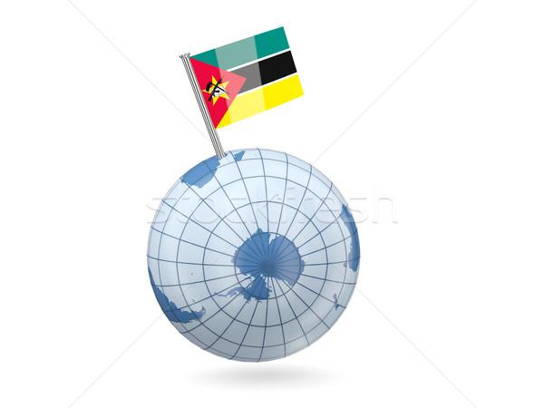 Globo bandeira Moçambique azul isolado branco Foto stock © MikhailMishchenko