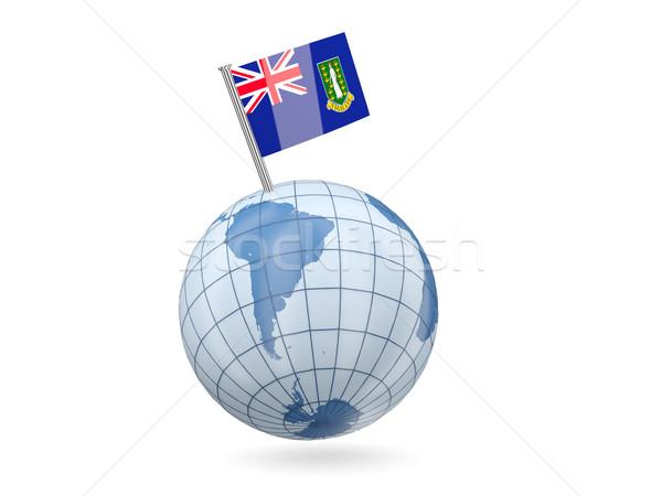 Földgömb zászló Virgin-szigetek brit kék izolált Stock fotó © MikhailMishchenko