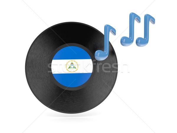 Bakelit lemez zászló Nicaragua izolált fehér Stock fotó © MikhailMishchenko