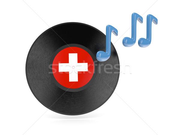Winylu dysku banderą Szwajcaria odizolowany biały Zdjęcia stock © MikhailMishchenko