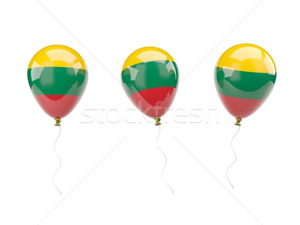 Lucht ballonnen vlag Litouwen geïsoleerd witte Stockfoto © MikhailMishchenko