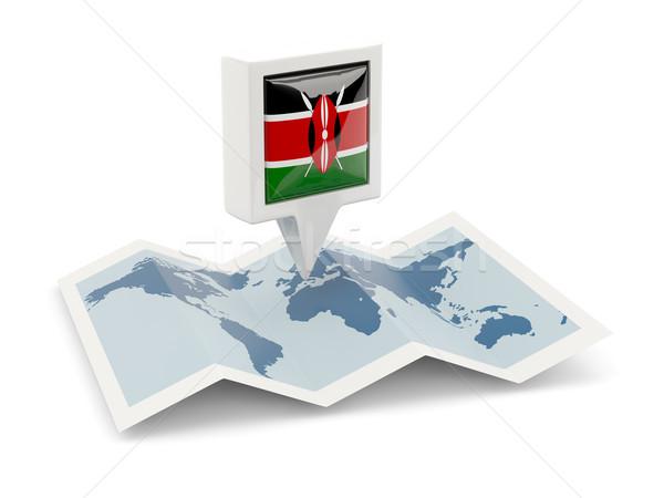 Carré broches pavillon Kenya carte Voyage Photo stock © MikhailMishchenko