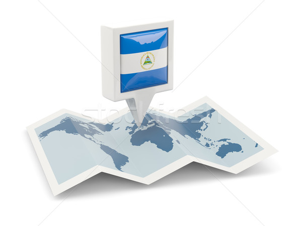 Tér tő zászló Nicaragua térkép utazás Stock fotó © MikhailMishchenko