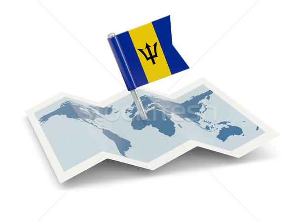 Mapa bandeira Barbados isolado branco Foto stock © MikhailMishchenko