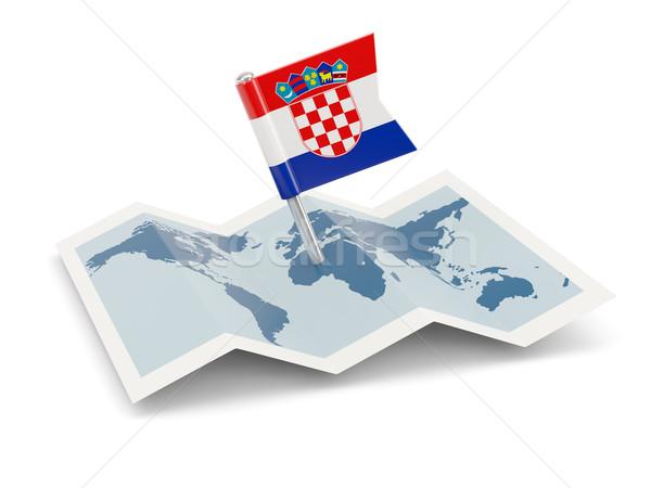 Carte pavillon Croatie isolé blanche Photo stock © MikhailMishchenko