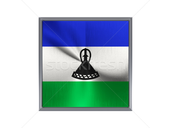 квадратный металл кнопки флаг Лесото изолированный Сток-фото © MikhailMishchenko
