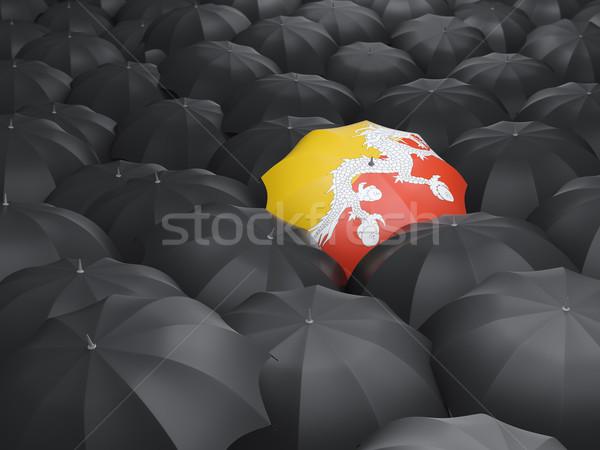 Guarda-chuva bandeira Butão preto guarda-chuvas viajar Foto stock © MikhailMishchenko