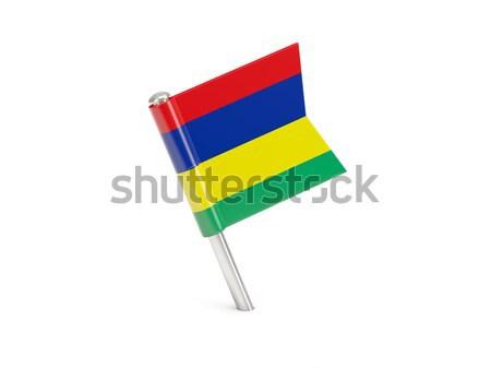 Banderą pin Mauritius odizolowany biały Zdjęcia stock © MikhailMishchenko
