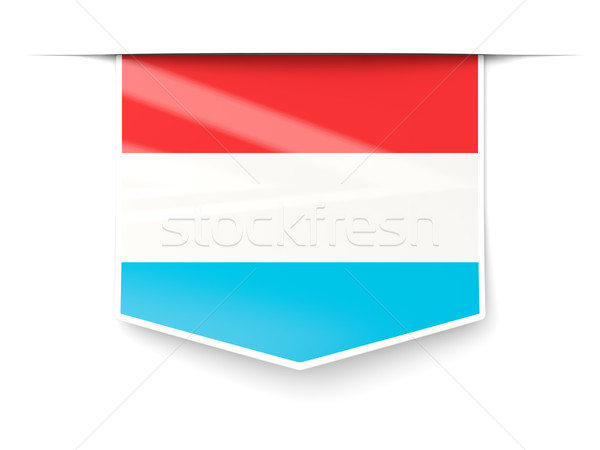 Stockfoto: Vierkante · label · vlag · Luxemburg · geïsoleerd · witte