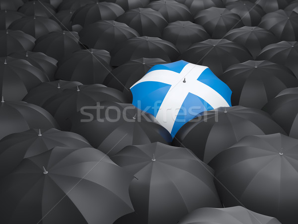 Guarda-chuva bandeira escócia preto guarda-chuvas chuva Foto stock © MikhailMishchenko