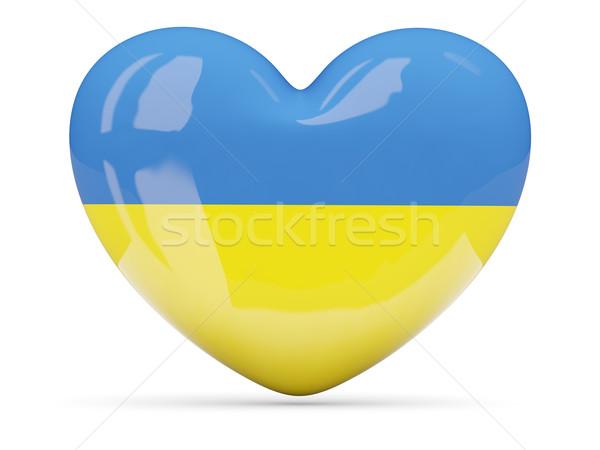 Szív alakú ikon zászló Ukrajna izolált Stock fotó © MikhailMishchenko